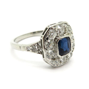 Platinum Art Deco Style Sapphire and Round Diamond Ring, Size 4.75