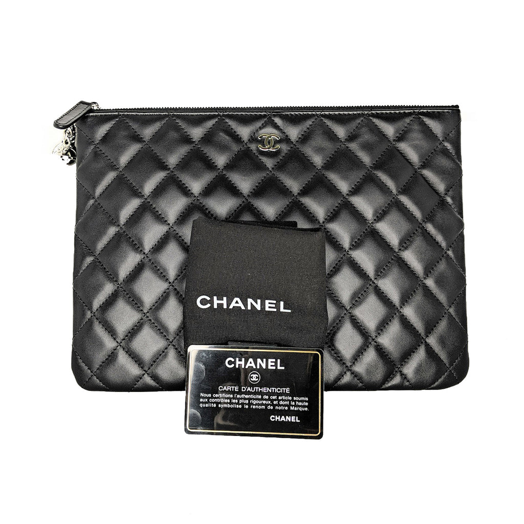 Chanel 2017 Black Quilted Lambskin O-Case