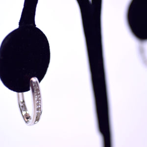 10K White Gold Diamond Huggie Style Earrings