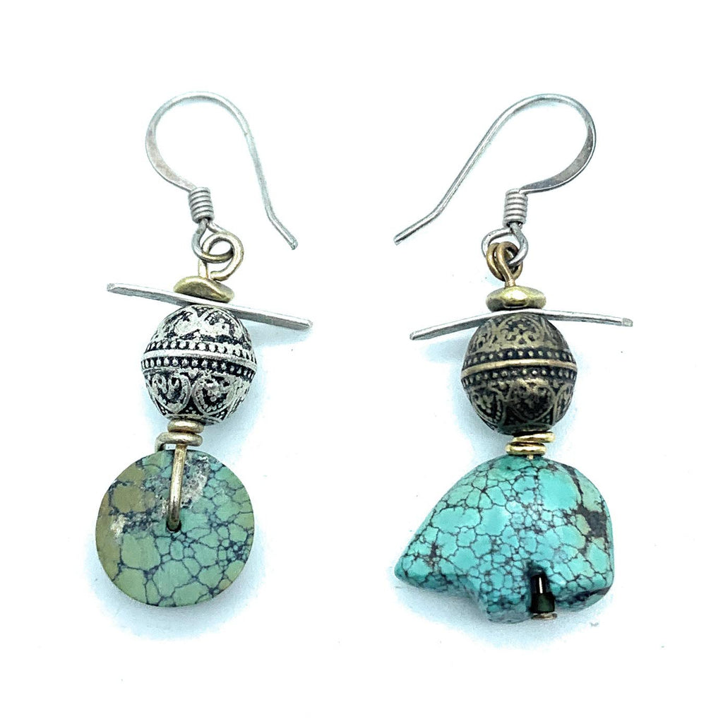 Vintage Navajo Sterling Silver & Turquoise Fetish Carved Dangle Earrings