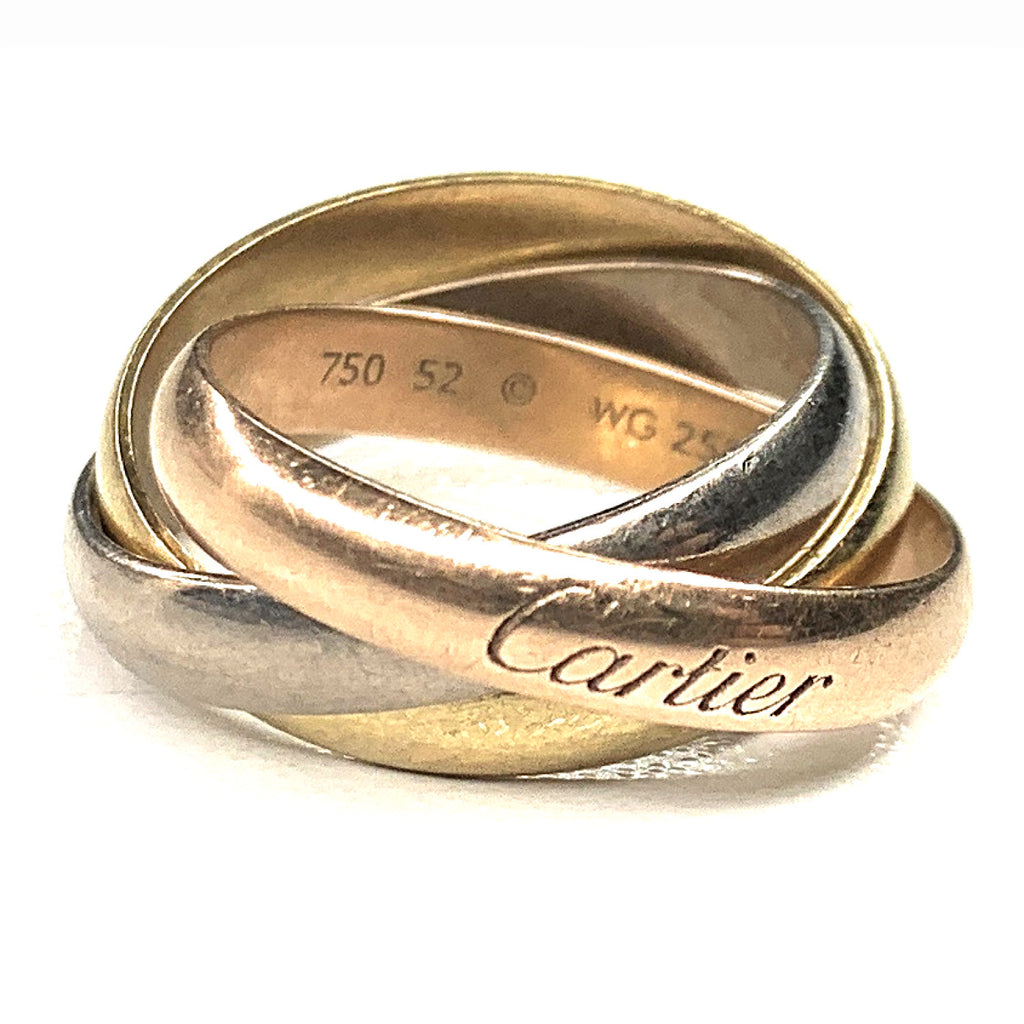 Authentic! Cartier 18K Tri-color Trinity Rolling Ring