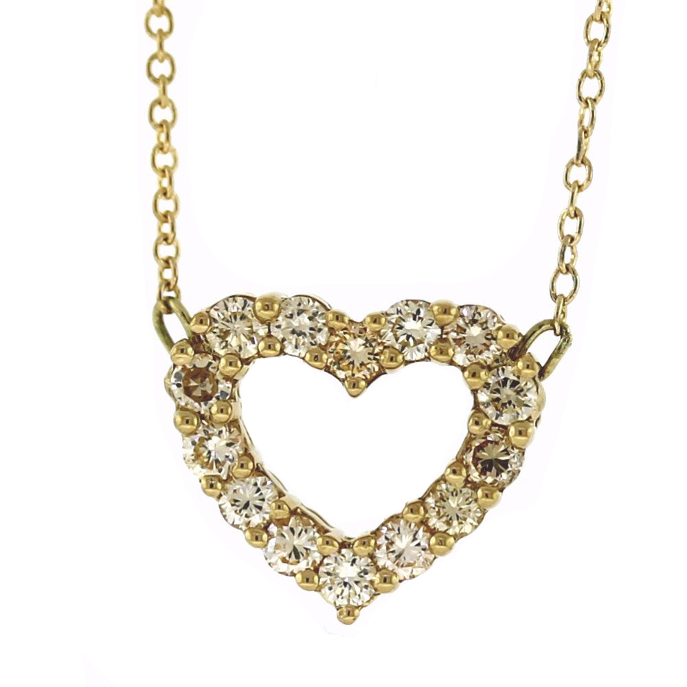 18K Yellow Gold 0.45ctw Diamond Open Heart Pendant Necklace