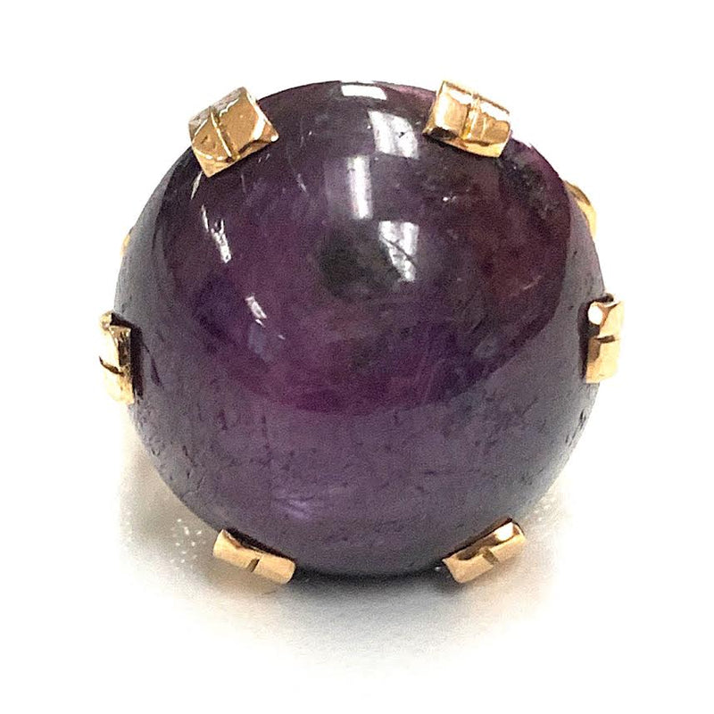 Vintage 14K Yellow Gold 52.33ctw Purple Star Ruby Cabochon Ring - Sz. 9.25