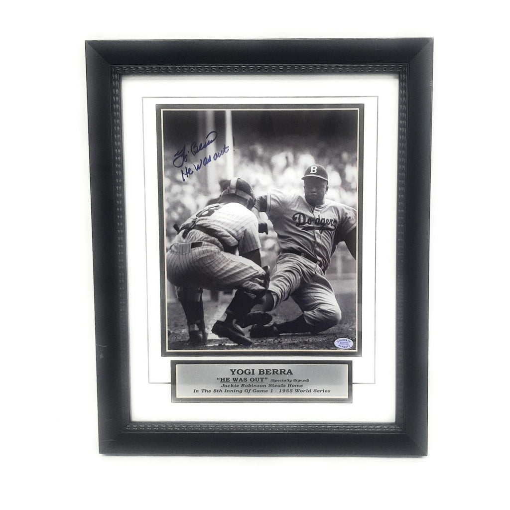 "Autographed Yogi Berra ""He Was Out"" Photograph Certified"