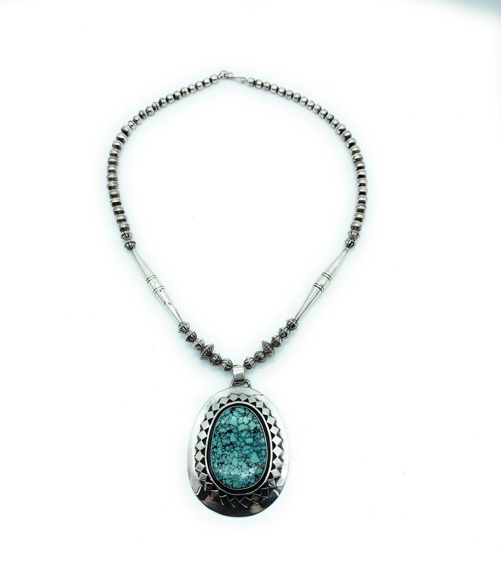 Will Denetdale Navajo Sterling Silver Turquoise & Bead Pendant Necklace