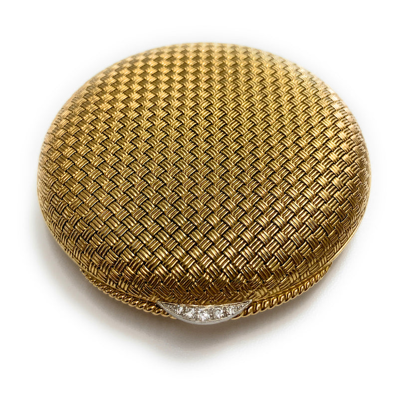 Vintage 14K Yellow Gold & Diamond Basket Weave Powder Compact w/ Mirror