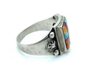 Vintage Mens Old Pawn Zuni Multi Stone Inlay Ring - Sz. 14