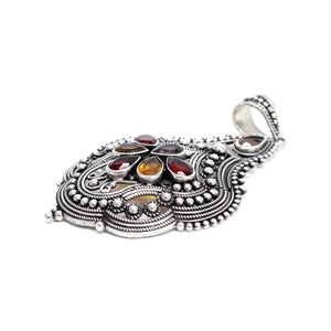 Sterling Silver with Multicolored Quartz Stones Pendant