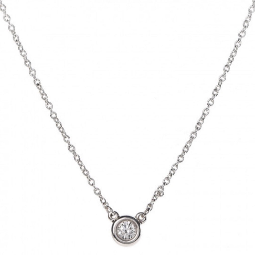 TIFFANY Sterling Silver Diamond .05ct Elsa Peretti Diamond Pendant Necklace