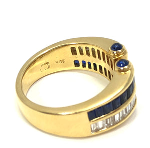 18K Yellow Gold 1.25ctw Diamond 1.50ctw Sapphire Ring
