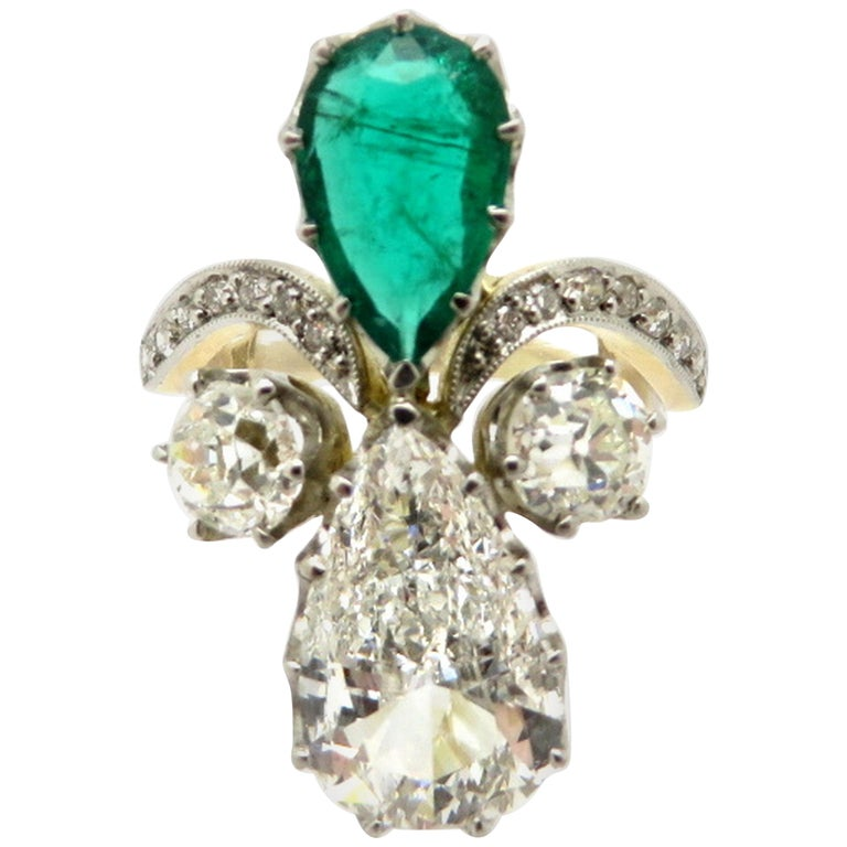 Estate 18 Karat and Platinum Pear Shaped GIA Certified Diamond and Emerald Ring