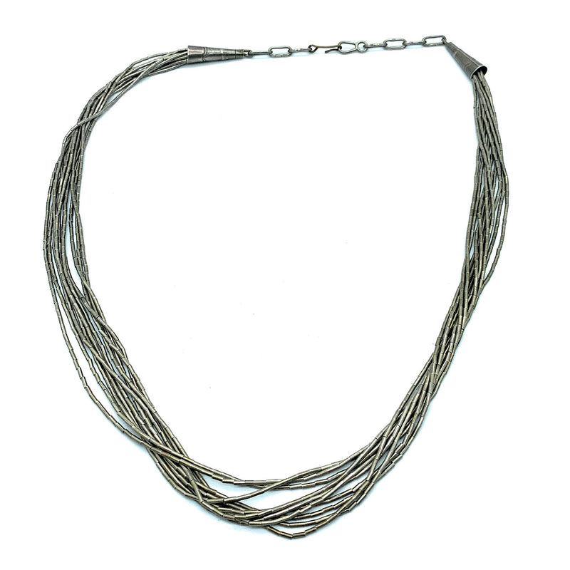 Vintage 1970's Liquid Silver 10 Strand Sterling Silver Necklace