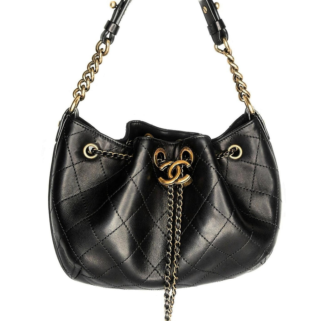 Chanel Black Calfskin Paris-Rome Drawstring Bag