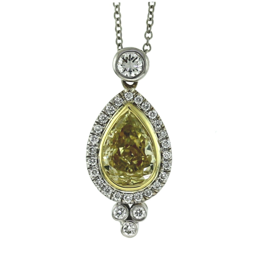 18K Two-Tone Gold 3.27ctw Diamond Pendant Necklace