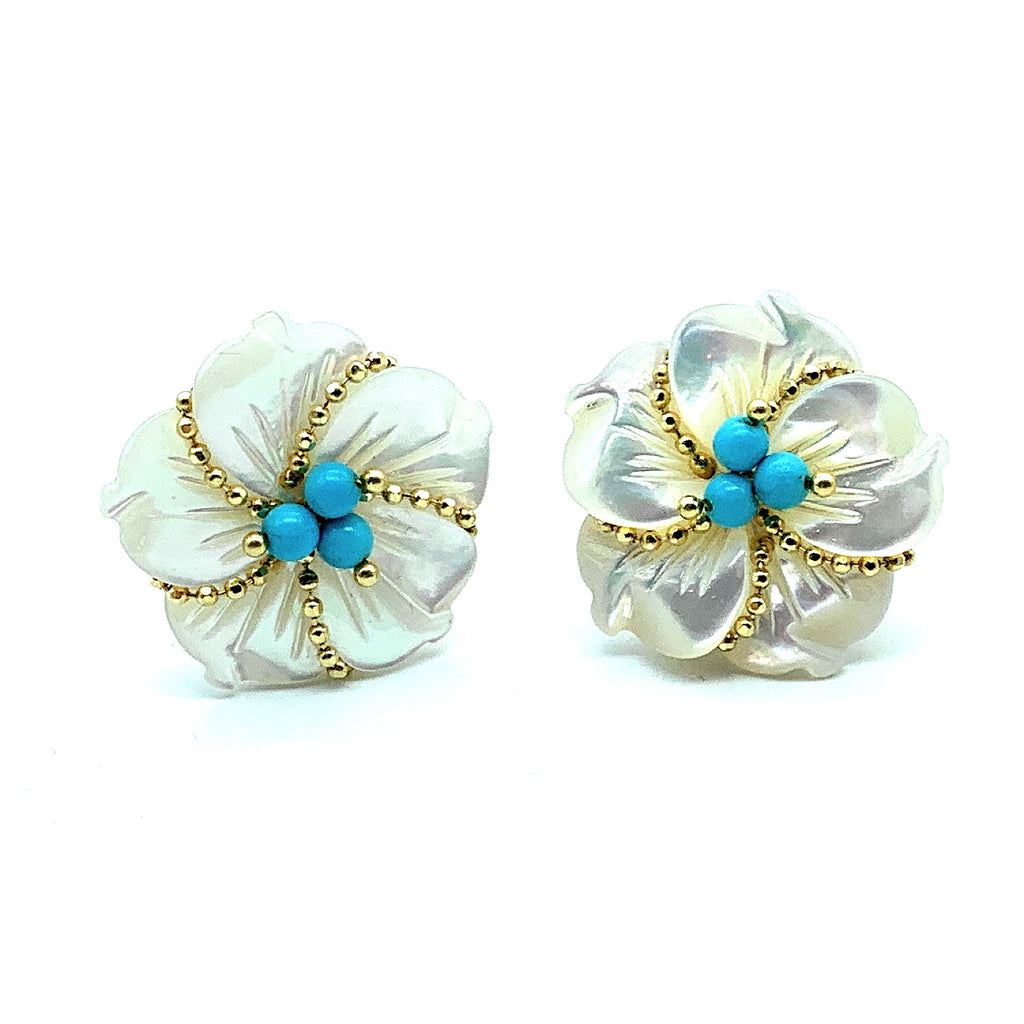 "18K Yellow Gold Mother Of Pearl & Turquoise ""Clematis"" Flower Post Earrings"
