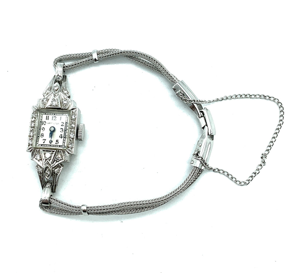 Vintage 1940's Hamilton 14K White Gold 0.30ctw 20 Diamond Ladies Cocktail Watch