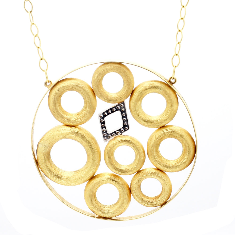 18K Two-Tone Gold & Diamond Circle Cluster Pendant Necklace