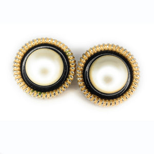 Vintage CHANEL Large Faux Mabe Pearl Clip-On Earrings