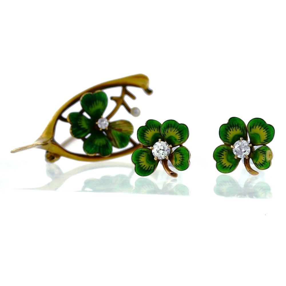 Vintage 14K Yellow Gold 0.17ctw Diamonds & Green Enamel Clover Earrings & Brooch Set