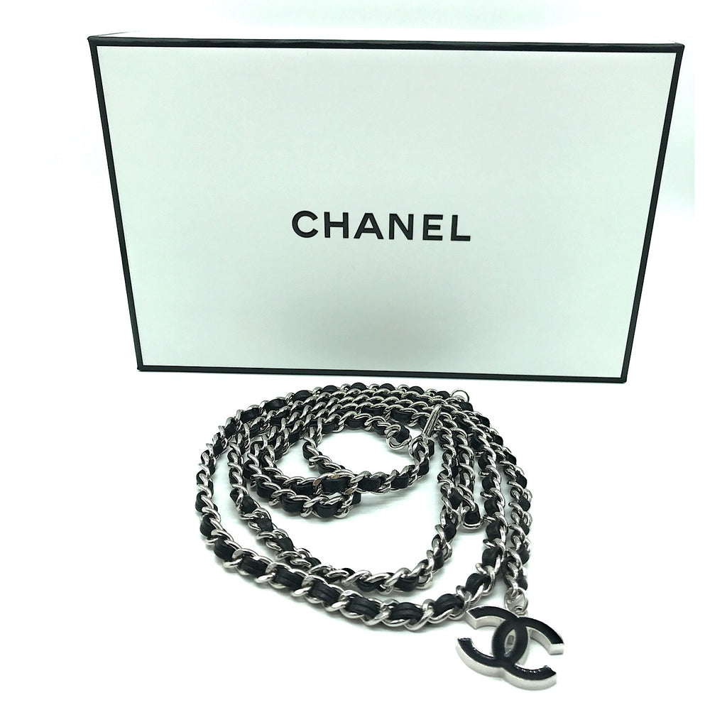 Chanel CC Logo Black Leather and Silver Chain Belt