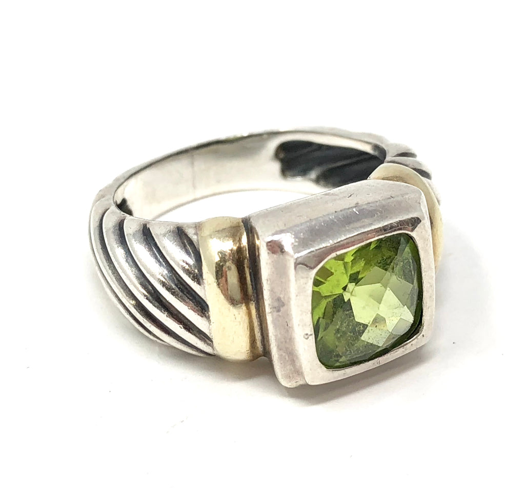 David Yurman Peridot Faceted Cushion Silver 14k Gold Ring