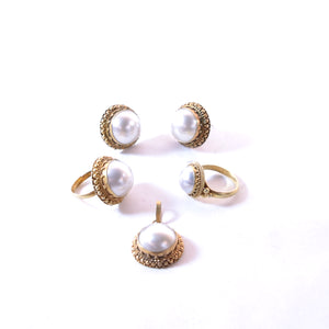 Sterling Silver, Gold Plated Earring Ring Pendant Set