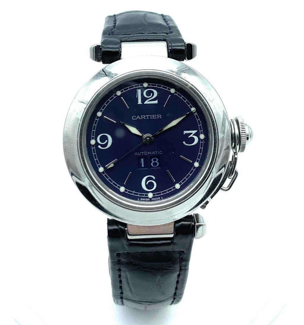 Cartier Stainless Steel Pasha 35mm Big Date 2475 Navy Face Watch