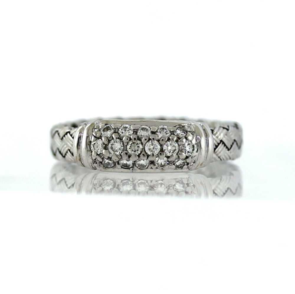 Roberto Coin 18K White Gold & Diamond Silk Weave Ring - Sz. 6.25
