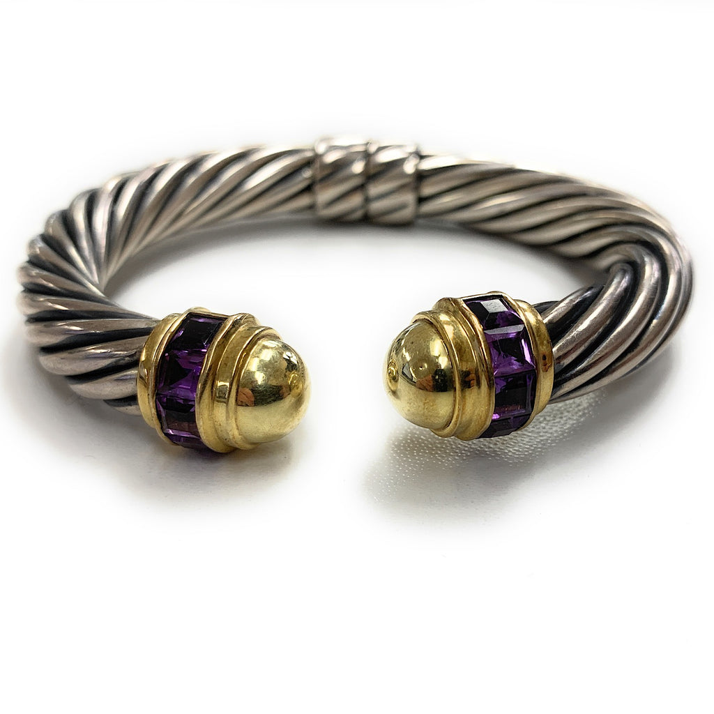DAVID YURMAN Sterling Silver 14K Yellow Gold Amethyst Hinged Cable Cuff Bracelet
