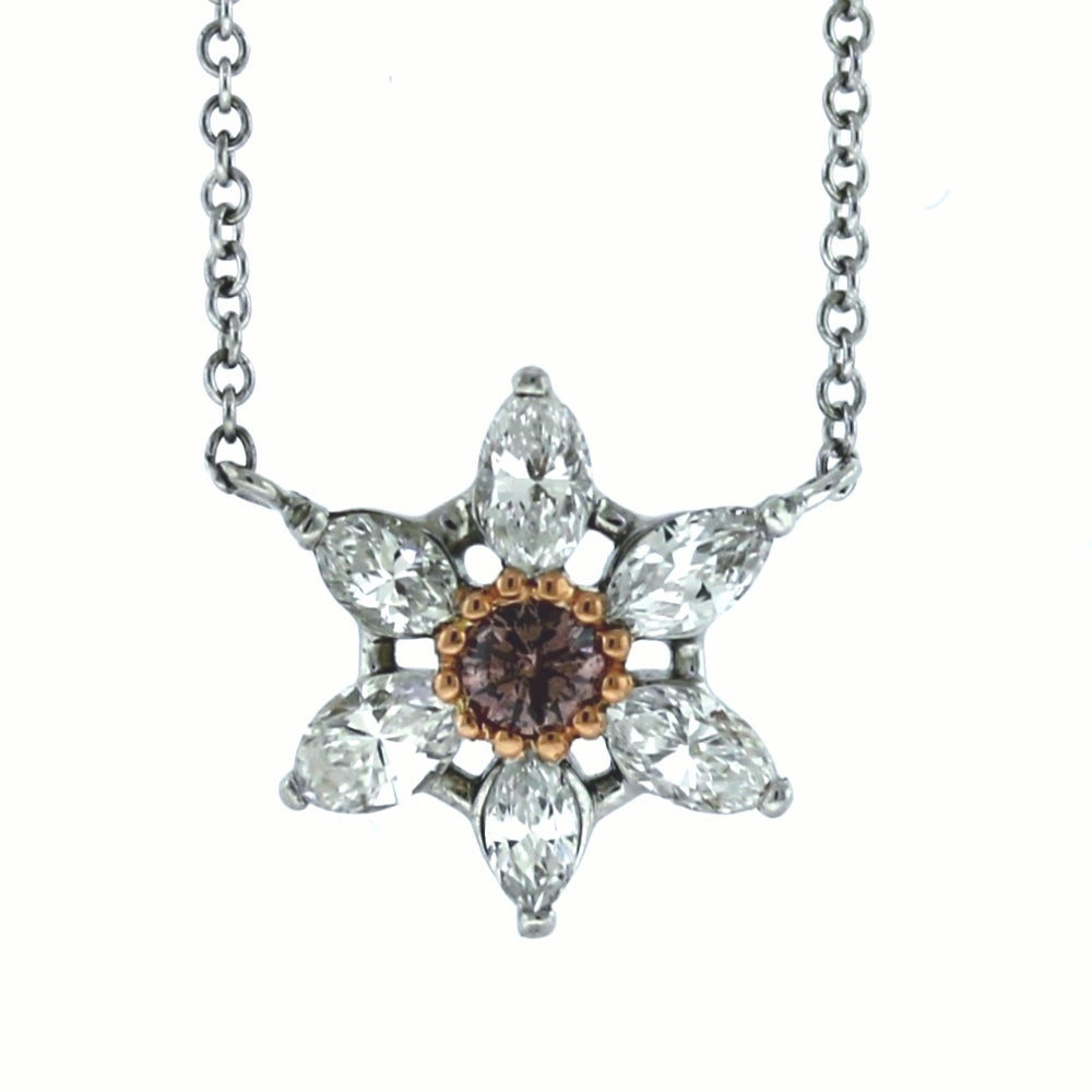 18K White & Rose Gold 0.65ctw Diamond Star Pendant and Necklace