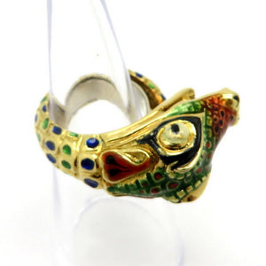 18 Karat Yellow Gold Enameled Colorful Dragon Design Fashion Ring, Size 6