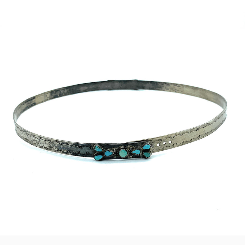 Vintage 1960's Navajo Sterling Silver & Petit Point Kingman Turquoise Hat Band