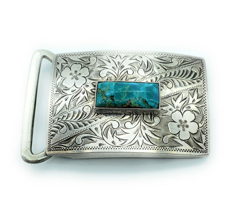 Vintage Old Pawn Sterling Silver & Turquoise Tension Belt Buckle