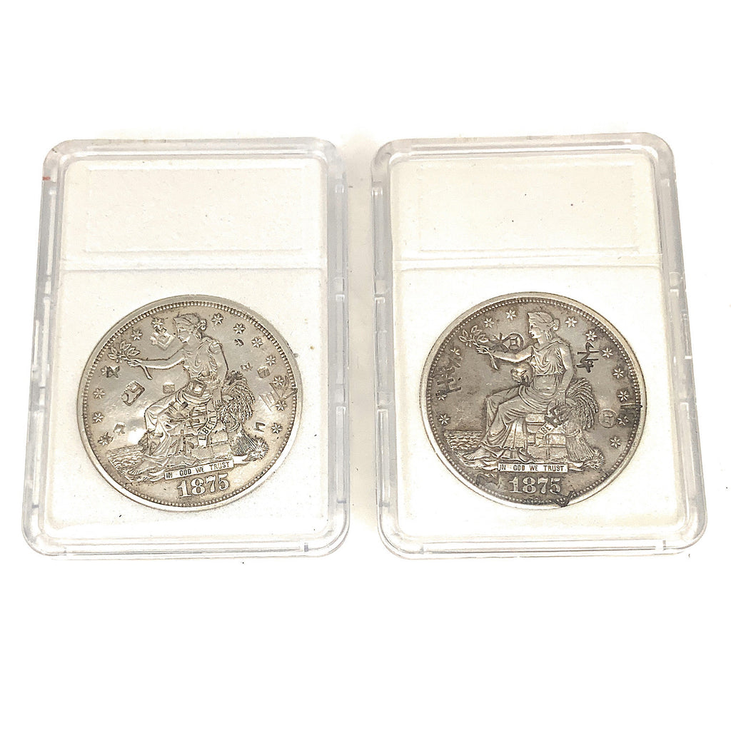 (2) 1875 Trade Dollars - Type 1 Reverse - Early Silver Dollars