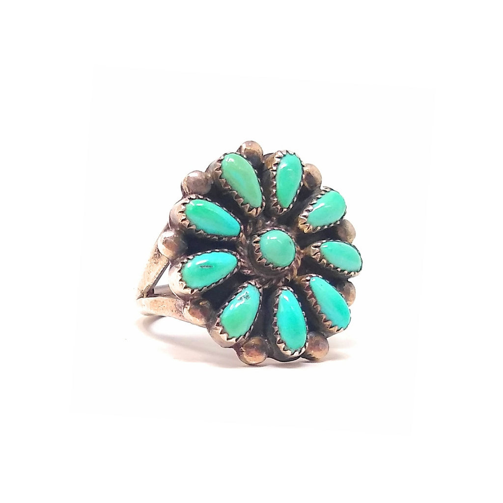 Green Fox Zuni Turquoise Petite Point Sterling Silver Ring size 6""