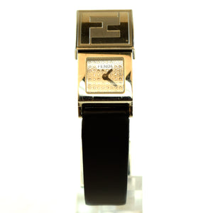FENDI Ladies Orologi 5400L Diamond Pave Secret Watch Black Leather Band