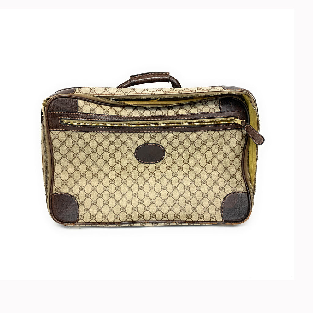 Vintage 1980s Gucci Monogram Beige Leather Suitcase Luggage Bag