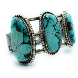 Vintage Navajo Triple Shank Sterling Silver & Royston Turquoise Cuff Bracelet