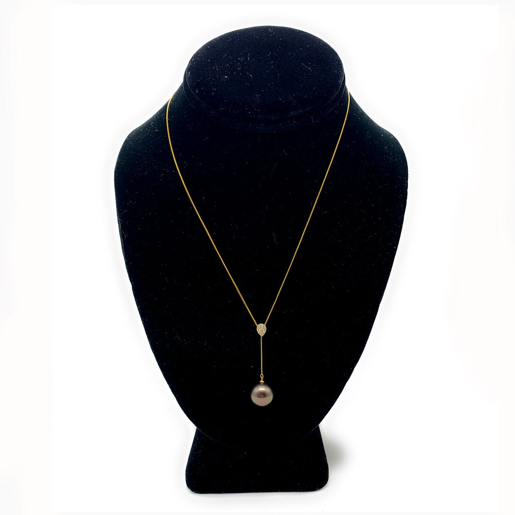 Cultured Black South Sea Pearl & Diamond 18K Yellow Gold Necklace, 13mm