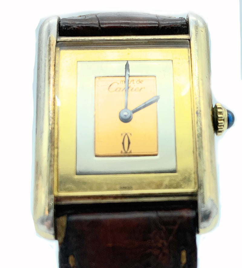 AUTHENTIC! Must De Cartier Gold Plate Sterling Silver Tricolor Dial Watch