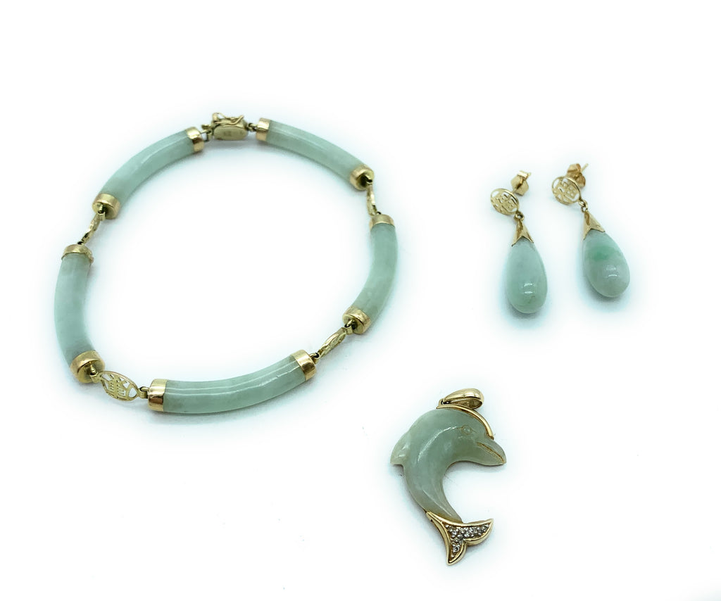Vintage Asian 1970's 14K Yellow Gold & Jade 3-piece Jewelry Set