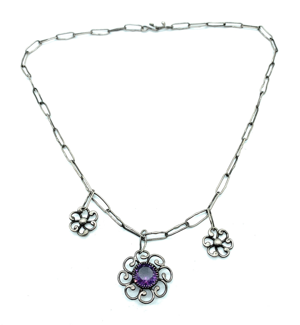 Vintage 1970's Navajo Sterling Silver & Amethyst Flower Chain Link Necklace