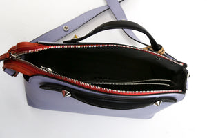 Fendi By The Way Lilac Small Leather Crossbody Satchel Bag