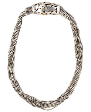 Cartier 18K Yellow Gold & Sterling Silver Abstract Barrel Bead Multi Strand Necklace