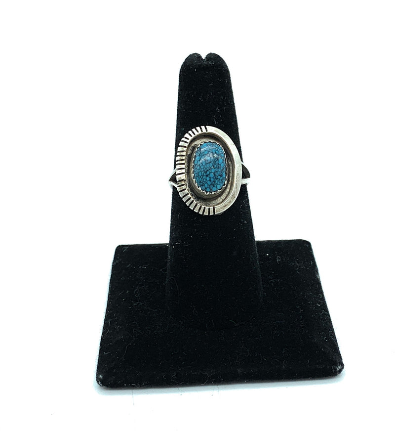 Vintage 1960's Navajo Split Shank Sterling Silver Turquoise Ring - Sz. 7