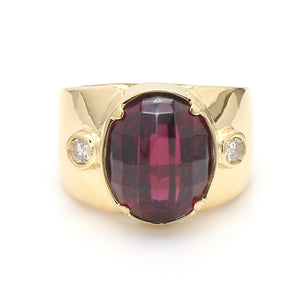 18K Yellow Gold, 10.54ct Rasberry Tourmaline, & 0.10ctw Diamond Ring  - Sz. 6.25