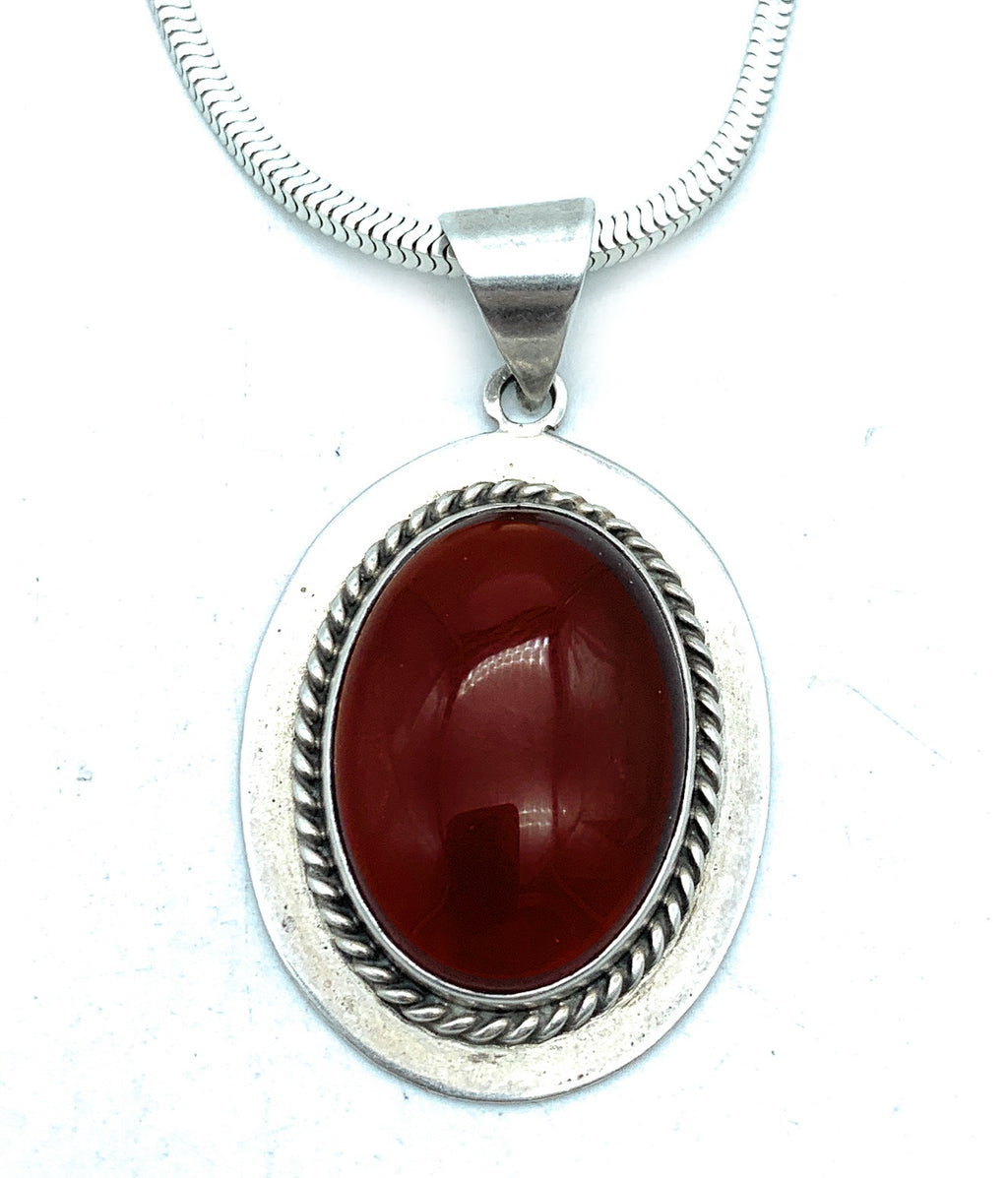 Vintage Sterling Silver & Oval Carnelian Pendant & Snake Box Chain Necklace