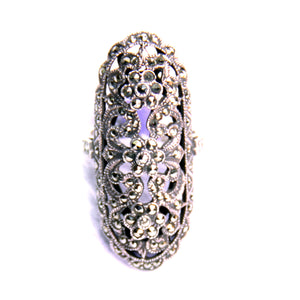 Marcasite, Sterling Silver Ring Size 9.75