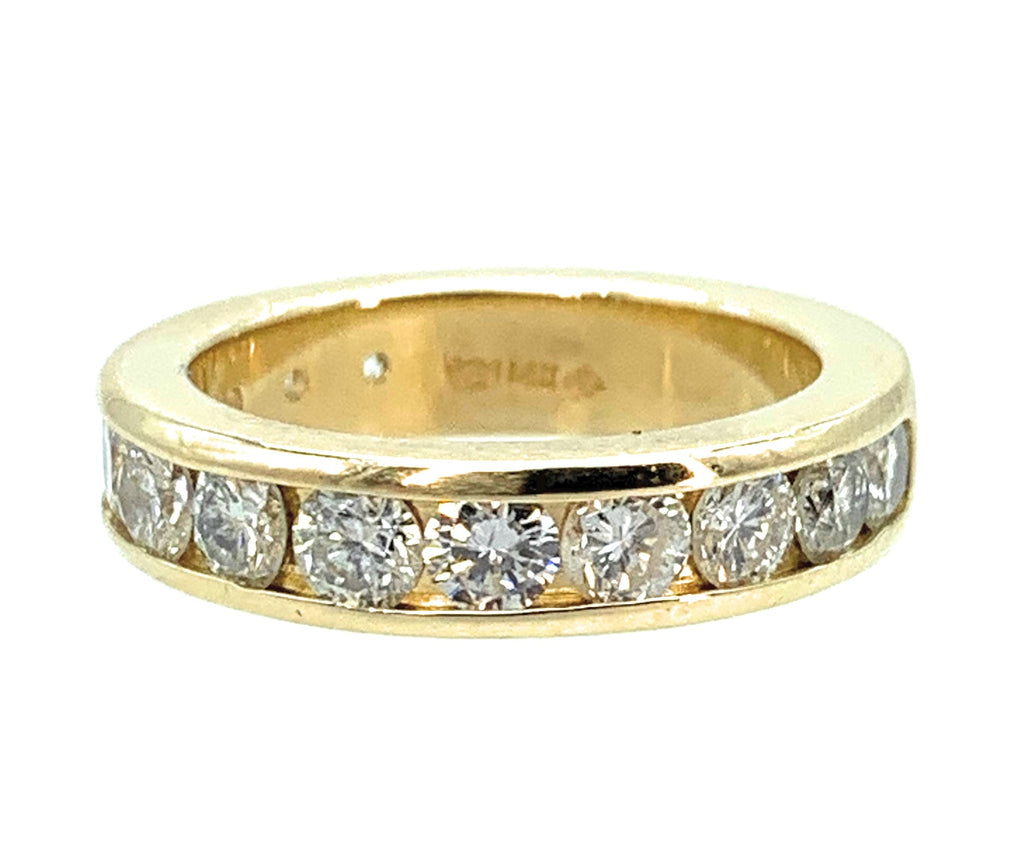 1.25ctw Diamond 14K Yellow Gold Half Eternity Wedding Band - Sz. 5.75
