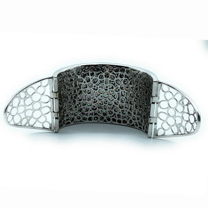 18K White Gold 19.03ctw White & Black Diamond Wide Hinged Cuff Bracelet